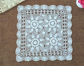 "Vintage style hand crochet 18"" SQ table cloth, multipurpose usage table cover, square floral table topper for home decor"
