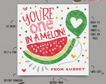 INSTANT DOWNLOAD - EDITABLE Valentine's day Card one in a melon Valentines Day card for kids Valentine's classroom Card Valentines day favor