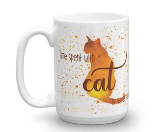 Orange Cat Watercolor Mug Made in USA