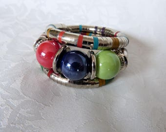 metal Cuff Bracelet and large beads