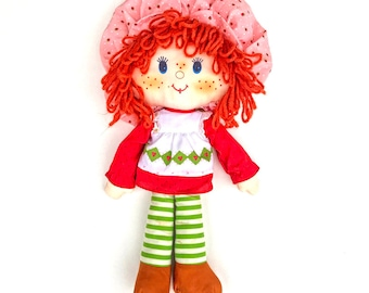 Strawberry Shortcake Rag Doll | Vintage 1980s Strawberry Shortcake Cloth Doll | Kenner Strawberry Shortcake Soft Doll | Plush / Plushie Doll