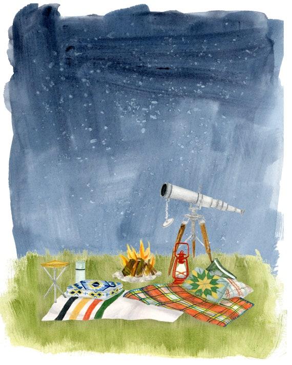 Stargazing Print of an original illustration