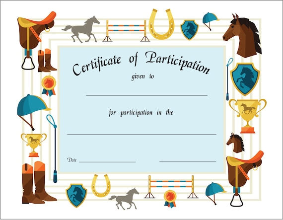 Certificate templates for horse riding images for Horseback riding lesson gift certificate template