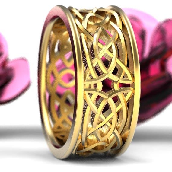 Celtic Wedding Ring With Open Cut-Through Knotwork Design in 10K 14K 18K Gold, Palladium or Platinum, Made in Your Size 1188