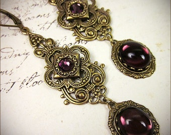Gothic Victorian Earrings, Purple, Amethyst, Renaissance Earrings, Medieval, SCA, Tudor, Borgias, Victorian, Avalon