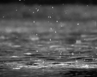 Rain - Water - Rain Photo - Water Photo - Black and White - Digital Photography - Digital Download - Instant Download - Fine Art Photography