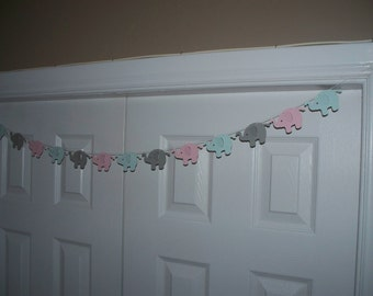 Elephant Garland - Pale Pink, Pale Blue, Grey - Cardstock Paper - Baby Shower Decor - Wall decoration - Banner - Sign