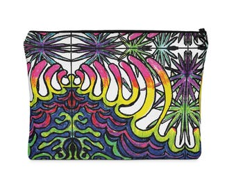 Rainbow Waves Tile Print Carry All Pouch