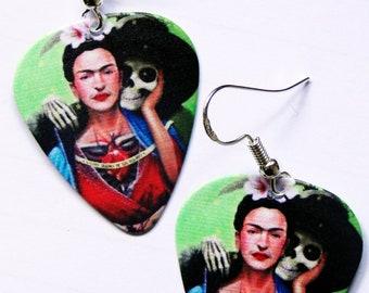 Day of the Dead Frida Kahlo sugar skull guitar pick earrings (Dia de los Muertos)