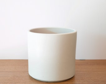 Mid Century Modern Planter, Matte White Planter, Ceramic Cylinder Pot, Indoor Planter