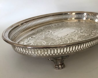 Silverplate Gallery Tray Footed Leonard Silverplate Reticulated Tray Hollywood Regency