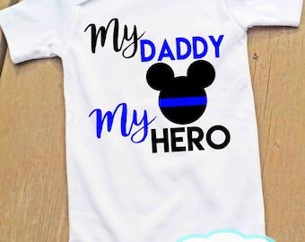 Mickey My Daddy My Hero Bodysuit or Tshirt - Thin Blue Line - Police - Boy
