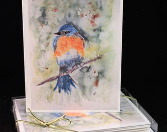 Set of  Blue Bird Original Watercolor PRINT- Greeting Cards/ Note Cards  (Set of four), Bird Cards