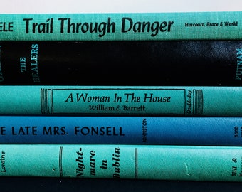Vintage Book Collection - Antique Lot of 5 in shades of Green and Blue - Old Hardcover Set - Decorative Books
