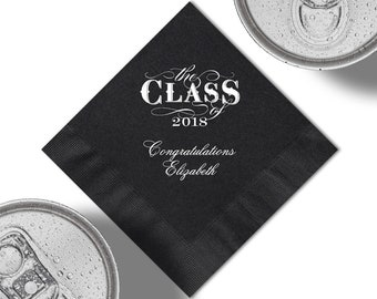 Class of 2018 Graduation Party Beverage Napkins And Or Luncheon Napkins With Design, Napkin And Foil Color Options. See Thumbnail Images.