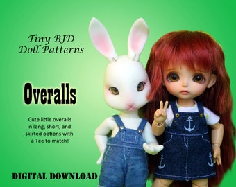 Easy Overalls clothes pattern for 16cm Tiny BJD: PukiFee Lati Yellow Tiny Delf & similar sized dolls