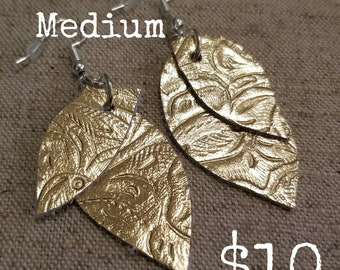 Gold Embossed Leather Earrings