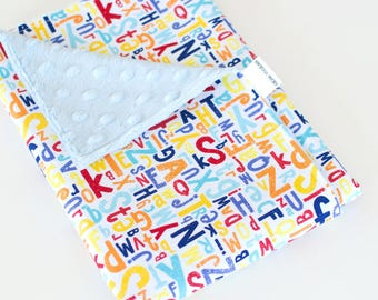 Unisex Baby Blanket, Primary Color Letters, Crayola Alphabet with Baby Blue Minky Lovie, Security Blanket with Minky for Baby Boy Baby Girl