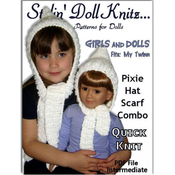 Knitting Pattern Matching Girl And Doll Pixie Hat Scarf Combo 23