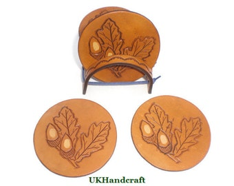 Leather Coaster Set (of 4 or 6), Acorn Leather Coasters, Leather Anniversary Gift, Leather Anniversary, Acorn Oak Leaf, Anniversary Gifts