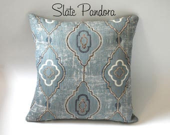 Barkcloth Collection // Moroccan Influenced Pillows  // Dusty Blue Decorative Pillows //  Embroidered Textured Throw Pillow