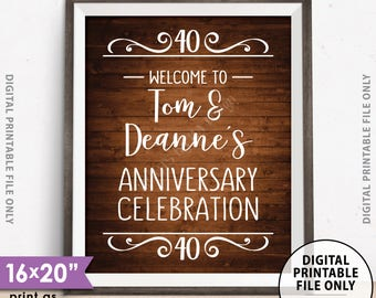 """Anniversary Party Sign, Welcome to the Anniversary Celebration Decorations Wedding Anniversary Gift, 8x10/16x20"""" Rustic Wood Style Printable"""