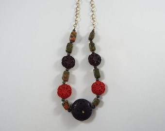 Earthy stone and wood beaded Necklace