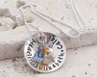 Colors of Love, Personalized Hand Stamped Name Necklace, Silver Mommy Jewelry, Birthstone Necklace Children Names, Christina Guenther