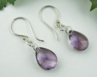Amethyst Dangle Earrings, Amethyst Teardrops, Silver Plated Wire, Silver Plated French Hook Earwires, Lavender, Purple, Romantic, Handmade