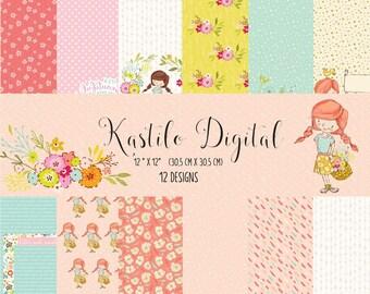 Baby girl digital paper: baby girl digital, pastel pink, pastel green, pink green, nursery patterns, baby girl nursery, girl digital paper