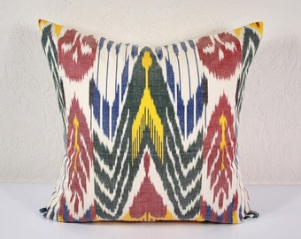 "Sale! Ikat Pillow, 20"" Ikat Pillow Cover - A508-1AA3, Ikat throw pillows, Designer pillows, Decorative pillows, Accent pillows"