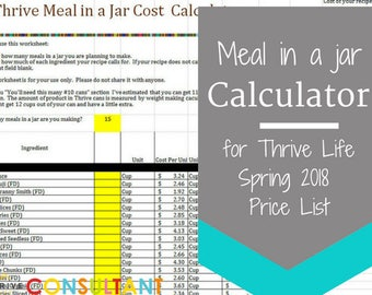 Meal in a Jar Recipe Cost Calculator Thrive Life Spring 2018