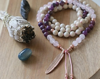 Rose quartz mala, pendant mala, rose gold necklace, hand knotted mala, mala beads 108, meditation, reiki mala, long necklace, prayer beads