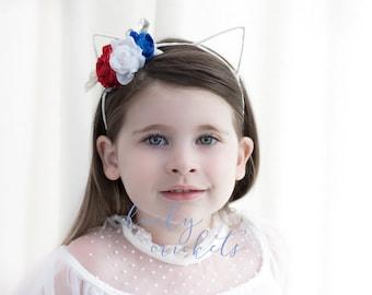 4th of July Headband, Red White Blue Headband, 4th July Cat Ears, American Headband, Fourth of July, 4th July Flower Headband, 4th July Baby