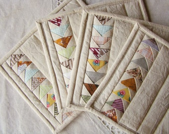Mug rugs, set of 4, quilted mug rug, placemats, patchwork, flying geese, simple, cosy, scandi, cottage style, recycled, upcycled, vintage