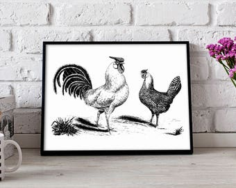 Rooster Hen Farm poster, Rooster Hen Farm wall art, Rooster Hen Farm wall decor, Rooster Hen Farm print, Gift poster