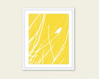 Spring Bird Art Print - Bird on Twig Wall Art - Bird on Branches Art - Aldari Art - Custom Color