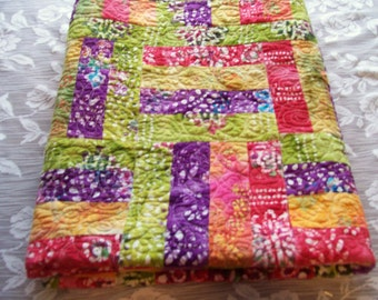 Rainbow, Baby Quilt, Quilt, Summer, Quilted, Pieced,Handmade