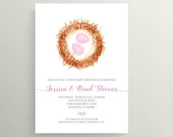 Twin Baby Girl Bird Nest Baby Shower Invitation . 4x6 or 5x7
