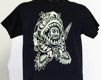 Tshirt Black/illustration tshirt/tshirt Screenprint black Magic/Monster T-shirt/Vodoo tshirt/Piranha/Dark T-shirt/men T-shirt