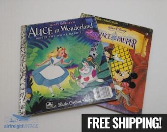 LITTLE GOLDEN BOOKS, Vintage Alice in Wonderland Little Golden Book, Disney's Prince and the Pauper Little Golden Book, Mickey Mouse, Alice