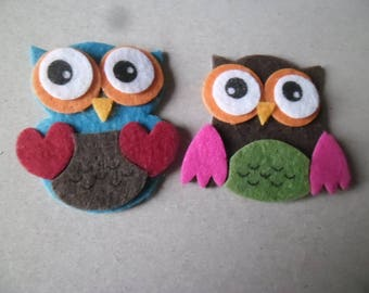 x 2 mixed embellishments stickers OWL 3D multicolored felt 4.5 x 4.1 cm