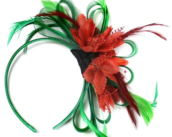 Emerald Green & Scarlet Red Feathers Fascinator on Headband