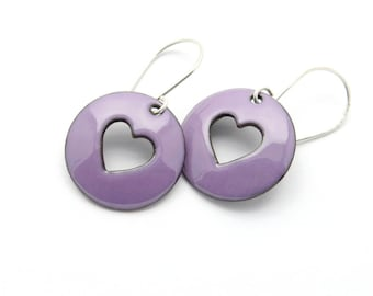 Purple Heart Earrings - Lavender Purple Dangle Earrings - Lavender Purple Enamel on Copper