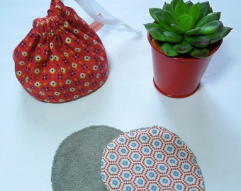 Small DrawString pouch, red print