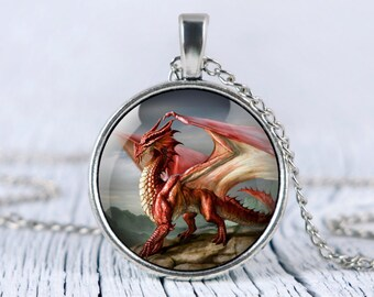 RED DRAGON necklace magic Red Dragon pendant Dragon jewelry fantasy necklace, p40