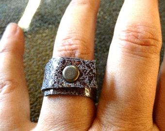 Fashion Rings for Women - Silver Leather - Cool Rings - Wraped Around Soft Leather Ring