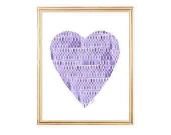 Purple Heart Print, Purple Decor, Purple Watercolor Print, 8x10, Henna Inspired Art, Purple Girls Room, Purple Girls Wall Decor, Purple Art