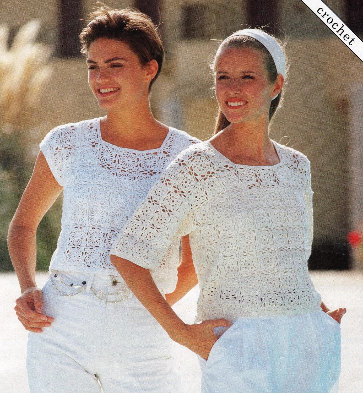 PDF Crochet Pattern / Women\'s Crochet Cotton Tops / 4ply Yarn / Lacy ...