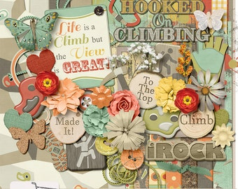 Climb Rock Climbing Digital Scrapbook Kit